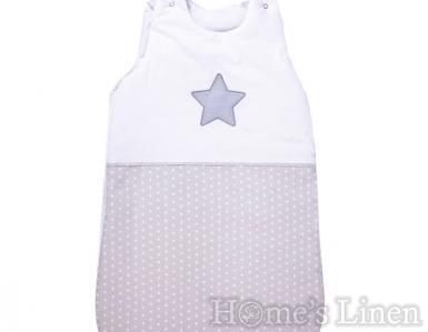 """Зимно бебешко спално чувалче """"Сиви точки + звезда"""" 70 cm"""