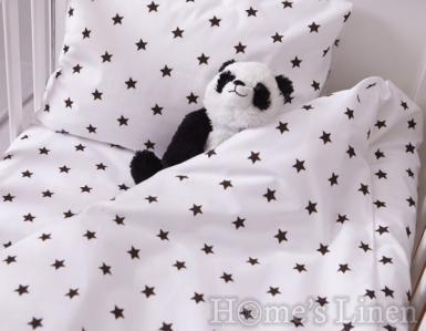"""Спален комплект 100% памук в 3 части """"Черни звездички"""""""
