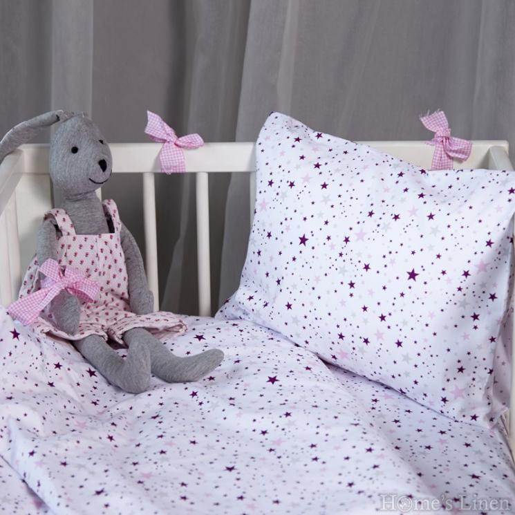 """Спален комплект 100% памук в 3 части """"Розови звезди"""""""