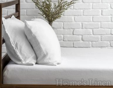 "Долен чаршаф с ластик 100% Френски пран лен ""Арктика"", Natural Linens Collection"