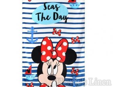 """Детска плажна кърпа 100% памук """"Мини на плаж"""""""