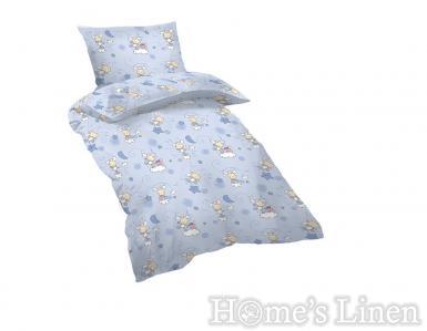 """Бебешко спално бельо 100% памук ранфорс """"Овце"""" сини"""