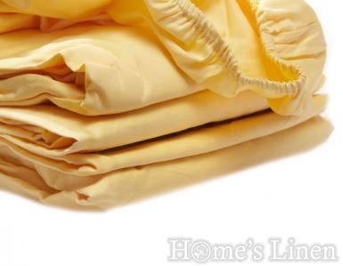 Долен чаршаф с ластик 100% памучен сатен жълто