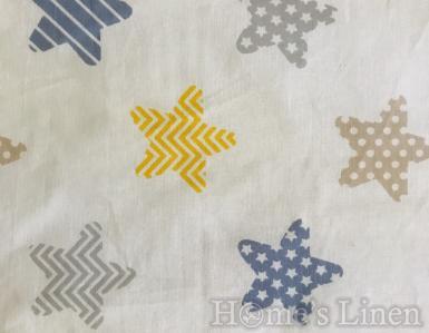 """Долен постелъчен чаршаф за бебешко креватче 100% памук """"Шарени звездички"""""""