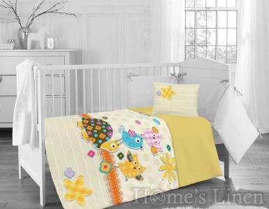 """Бебешки спален комплект 100% памук ранфорс """"Жълта костенурка"""""""