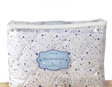 """Детска олекотена завивка и декоративна калъфка 100% памук """"Сини звезди"""""""
