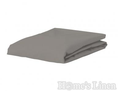 Долен чaршаф с ластик 100% памук дюс стоманено сиво