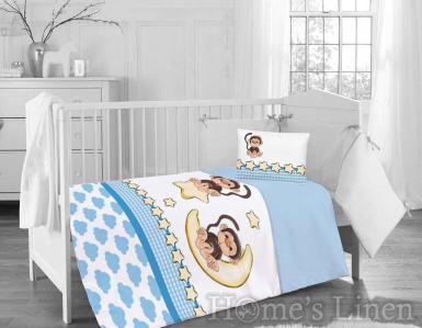 """Бебешки спален комплект 100% памук ранфорс """"Маймунка"""""""
