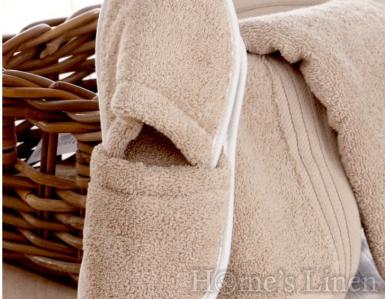 Хавлиени чехли 100% памук пясъчно