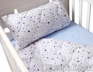 """Бебешка олекотена завивка и декоративна калъфка 100% памук """"Сини звезди"""""""