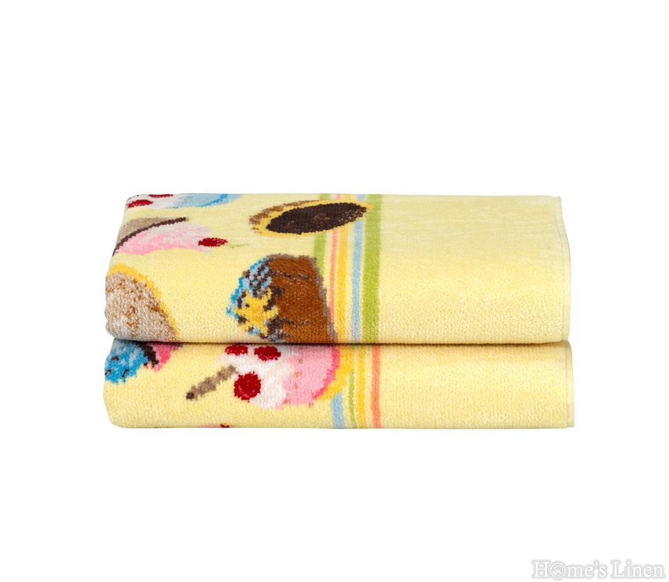 """Луксозна тъкана хавлиена кърпа 100% памук """"Cupcakes"""" Feiler"""