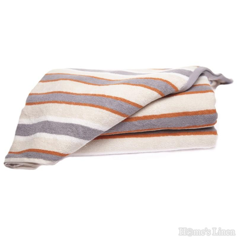 """Хавлиена кърпа 100% памук """"Кафяво райе"""""""