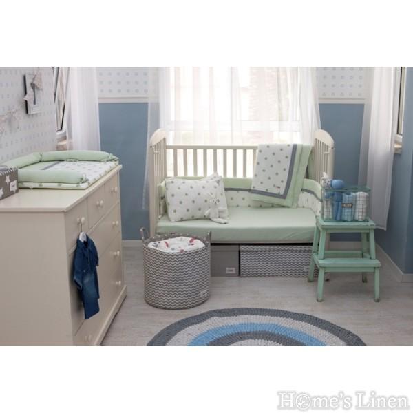"Луксозен бебешки спален комплект 100% памук ""Крем+зелени звезди"""