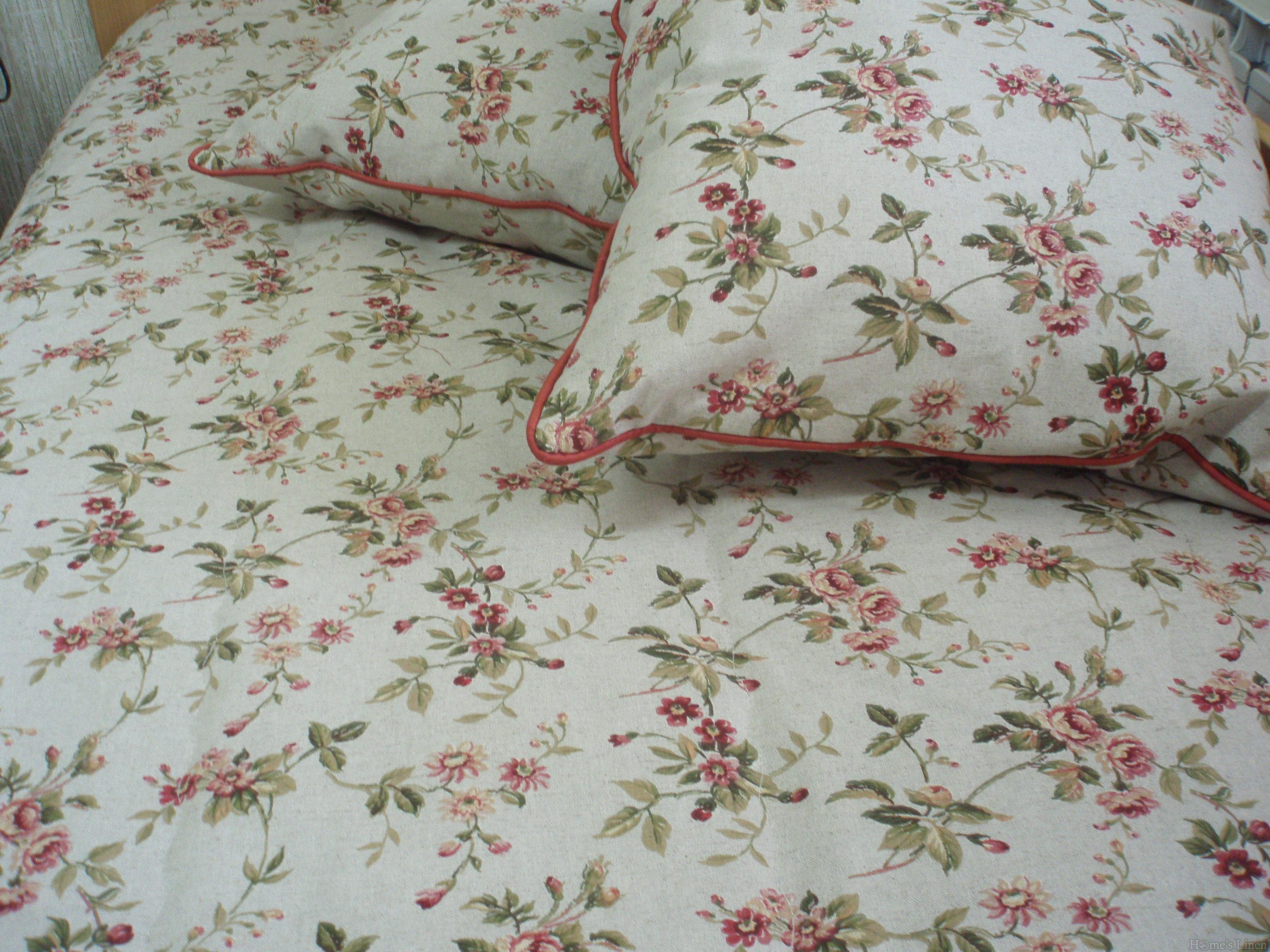 "Комплект двойно капитонирано шалте и 2бр. декоративни възглавници испански лен и памук ""Винтидж рози"""